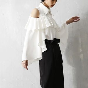 Tops - 🆕 WHITE COLD SHOULDER RUFFLE BLOUSE